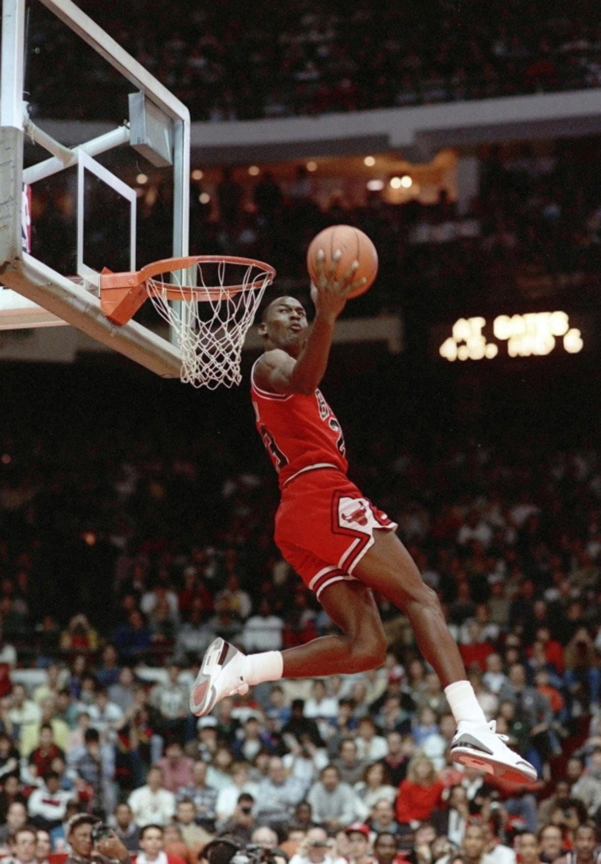 Chicago Bulls' Michael Jordan dunks during the 1988 slam-dunk competition of the NBA All-Star weekend in Chicago. Jordan left the old Chicago Stadium that night with the trophy. To this day, many believe Wilkins was the rightful winner.