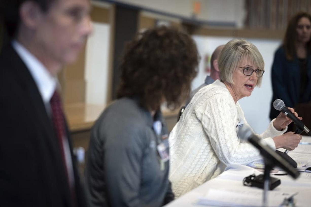 During a press conference, Peg Currie, RN, Providence Sacred Heart Medical Center chief executive, talks about how the four patients, who have tested positive for the COVID-19 virus, will be treated at Providence Sacred Heart Medical Center's Regional Treatment Center/ Special Pathogens Unit in, Thursday, Feb. 20, 2020, Spokane, Washington. (Colin Mulvany/The Spokesman-Review via AP)/The Spokesman-Review via AP) (eugene hoshiko/Associated Press)