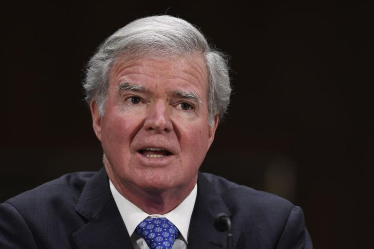 National Collegiate Athletic Association President Mark Emmert testifies during a Senate Commerce subcommittee hearing on Capitol Hill in Washington, Tuesday, Feb. 11, 2020, on intercollegiate athlete compensation.