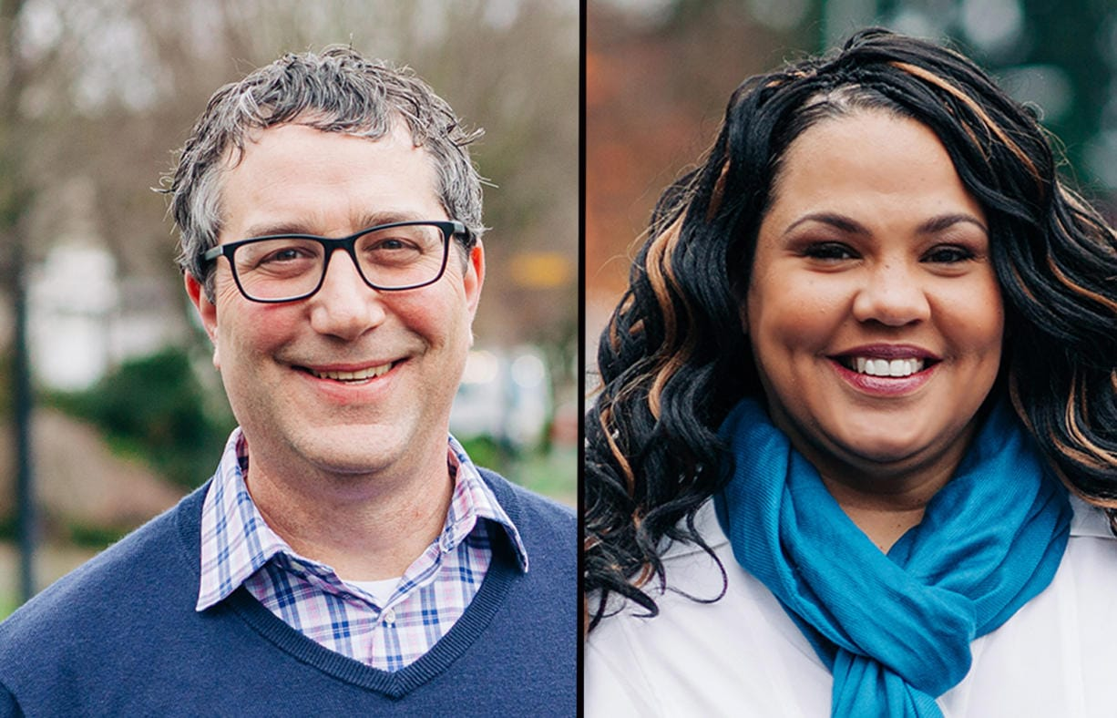 Democrat Daniel Smith, left, says he will run this year for the seat currently held by Sen. Lynda Wilson, R-Vancouver, in the 17th Legislative District. Democrat Tanisha Harris, right, says she will run this year for the seat currently held by Rep. Vicki Kraft, R-Vancouver, in the 17th Legislative District.