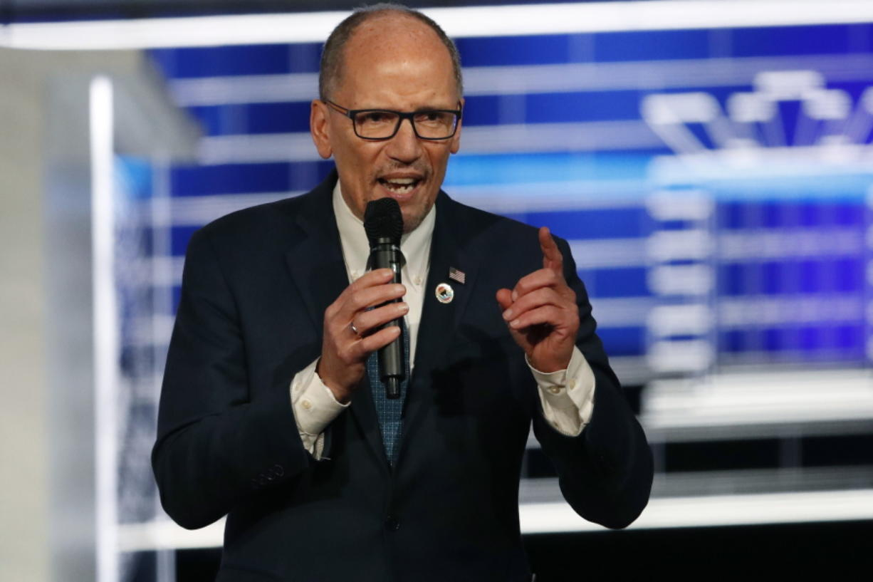 "FILE - In this Nov. 20, 2019 file photo, Chair of the Democratic National Committee, Tom Perez, speaks before a Democratic presidential primary debate in Atlanta. Perez is calling for a ""recanvass"" of the results of Monday's Iowa caucus. (AP Photo/John Bazemore)"