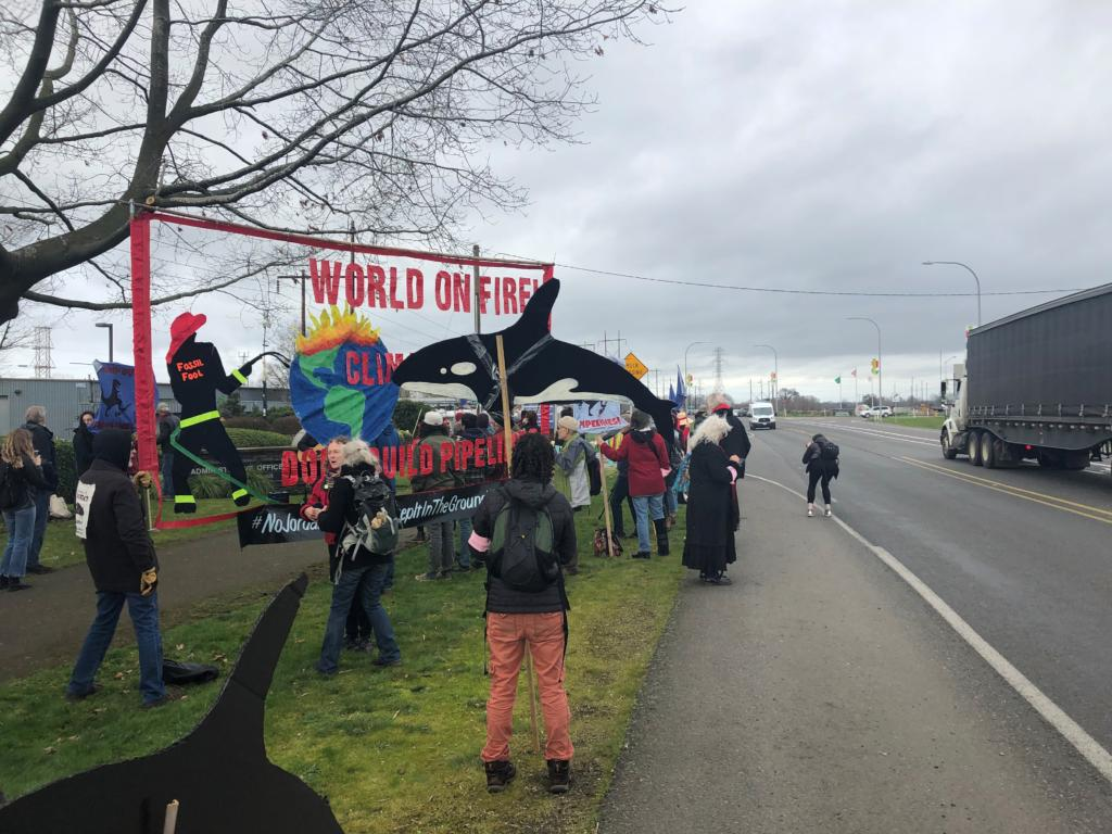 A group of environmental activists called Portland Rising Tide protested at the Port of Vancouver's main offices on Friday morning. The activists aimed to denounce the Trans Mountain Pipeline Expansion Project in Canada.(Courtesy of Dylan Plummer)