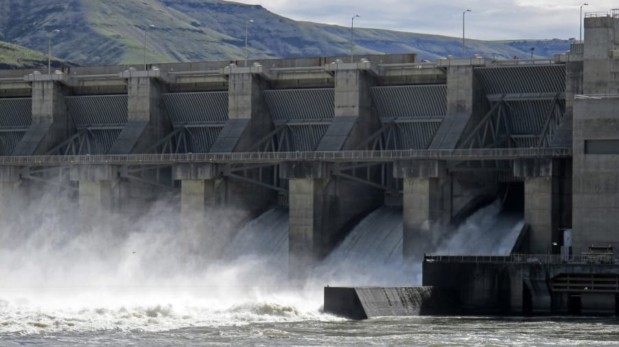 FILE - In this April 11, 2018 file photo, water moves through a spillway of the Lower Granite Dam on the Snake River near Almota, Wash. Farmers, environmentalists, tribal leaders and public utility officials are eagerly awaiting a federal report due Friday, Feb. 28, 2020, that could decide the fate of four hydroelectric dams on the Snake River. (AP Photo/Nicholas K.