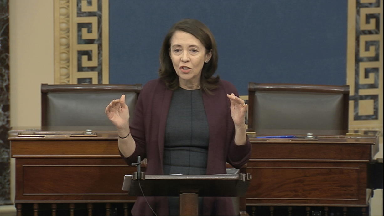 In this image from video, Sen. Maria Cantwell, D-Wash., speaks on the Senate floor about the impeachment trial against President Donald Trump at the U.S. Capitol in Washington, Monday, Feb. 3, 2020. The Senate will vote on the Articles of Impeachment on Wednesday afternoon.