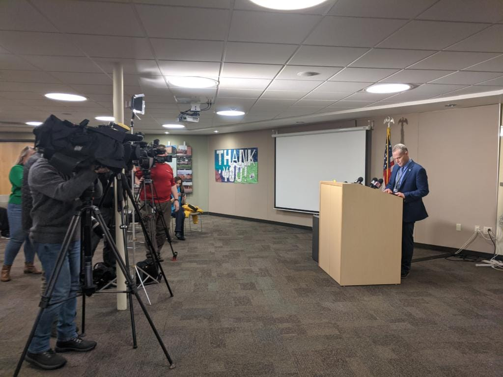 Camas School District Superintendent Jeff Snell speaks to the media Friday afternoon about the resignation of Camas High School Principal Liza Sejkora.