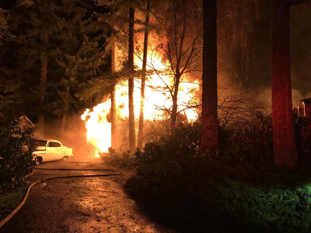 Fire destroyed two shop buildings in the 22300 block of Northeast 58th Street on Thursday. (Vancouver Fire Department)