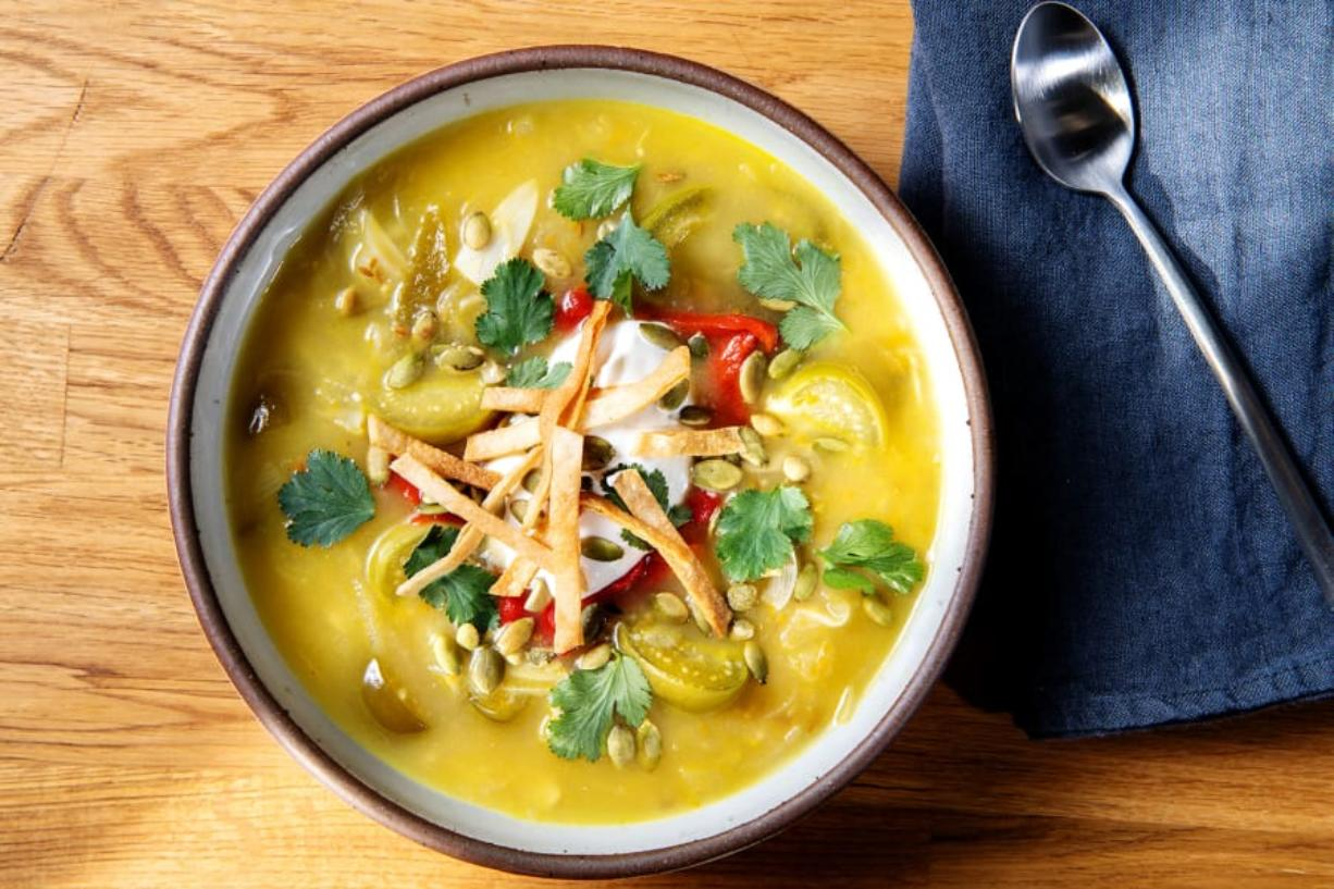 Tomatillo soup. Prop styling by Rebecca Buenik. (Mariah Tauger/Los Angeles Times)