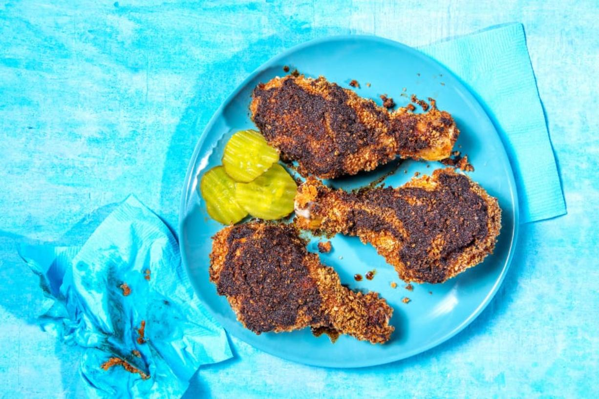 Oven-Fried Hot Chicken. Serve with pickles for a bright bite to balance the heat of the chicken. (Mariah Tauger/Los Angeles Times)