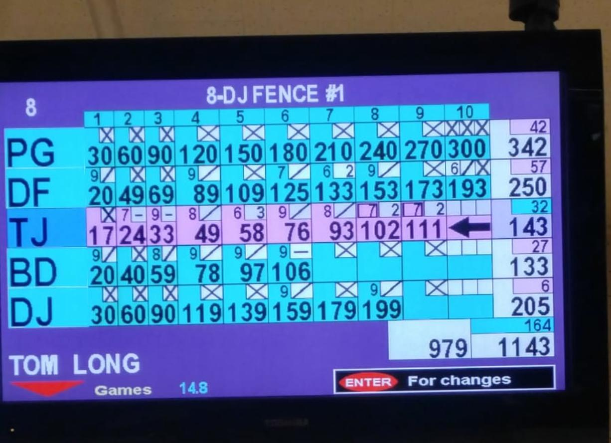 The scoreboard at Husted's Hazel Dell Lanes from Feb. 25 showing Phil Gleason's 300 game at the top of the screen.