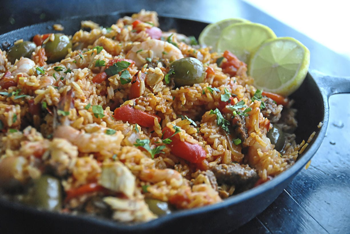 Paella with chorizo offers a taste of Spain. (Gretchen McKay/Pittsburgh Post-Gazette)