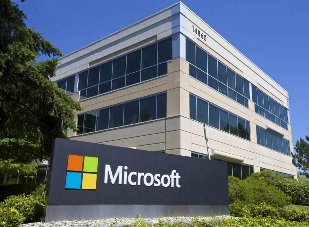 Part of the Microsoft Headquarters campus is pictured July 17, 2014 in Redmond, Washington.