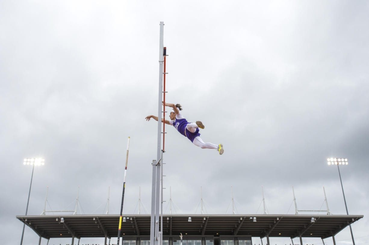 Columbia River's Levi Williams completes his height during the 2A Boys Pole Vault at the WIAA state track meet at Mount Tahoma High School in Tacoma last May.