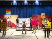 """The Hockinson High School Theater Company rehearses an entirely student-driven production of """"The Laramie Project,"""" which opens tonight."""