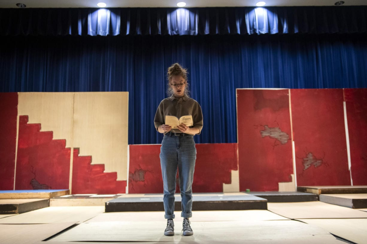 """The Laramie Project"" is drawn from a series of real-life interviews. Here, Hockinson High School junior Naomi Neve practices a monologue during a recent rehearsal."