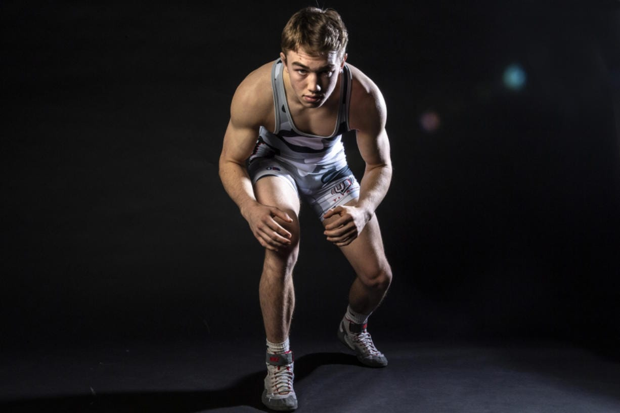 In just one year, Kyle Brosius went from never placing at state into a wrestler who went 45-1 with a school-record 34 pins and Union's eighth state wrestling champion. (Nathan Howard/The Columbian)