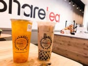 A Hawaii Fruit Tea with Aiyu Jelly and a Classic Pearl Milk Tea with black tea at Sharetea in Hazel Dell.