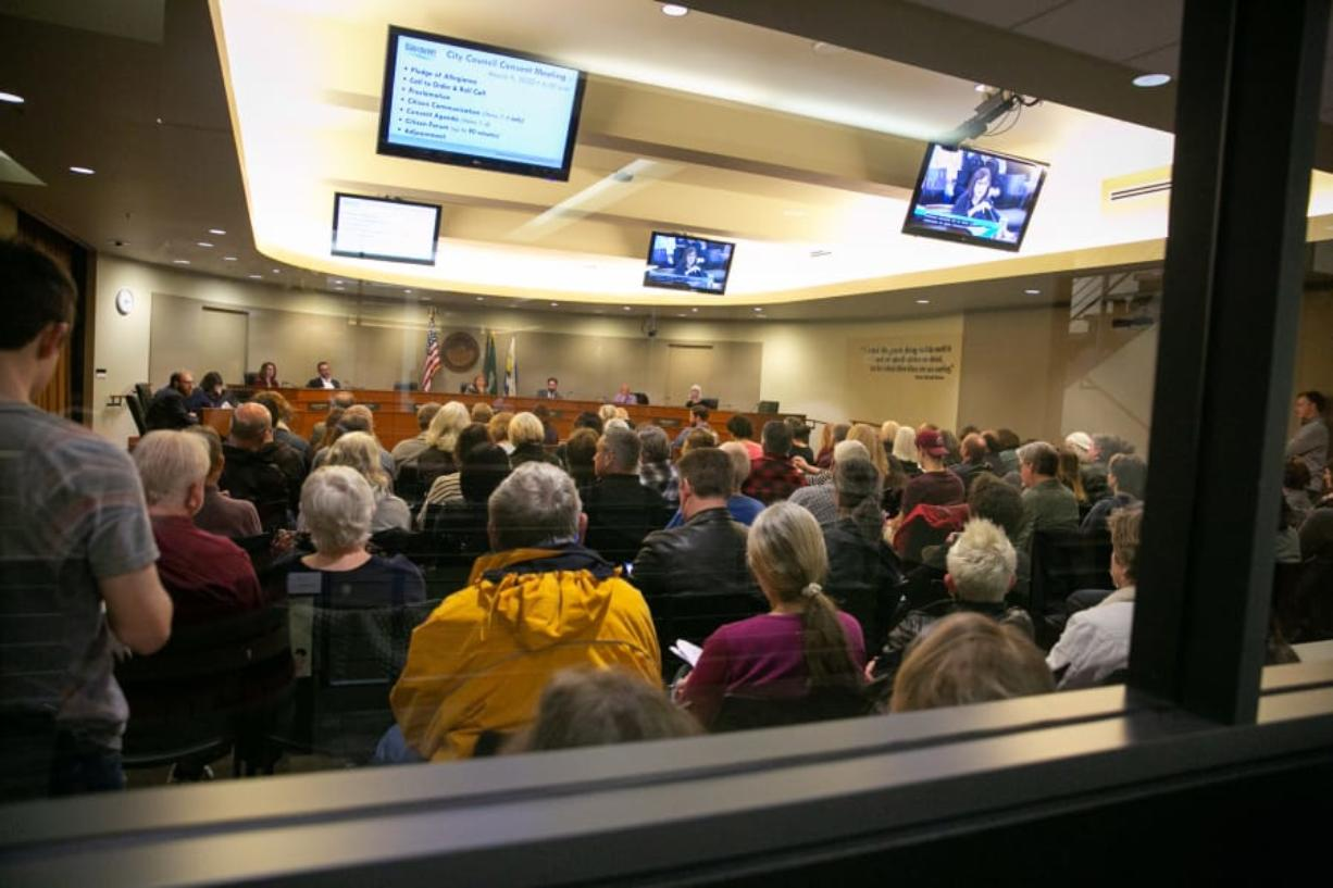 Council chambers at Vancouver City Hall were full, with 40 people signed up to give citizen testimony Monday. Several of the attendees addressed the city council about the Heights District Plan, encouraging it to extend the review period on the project's environmental impact statement.