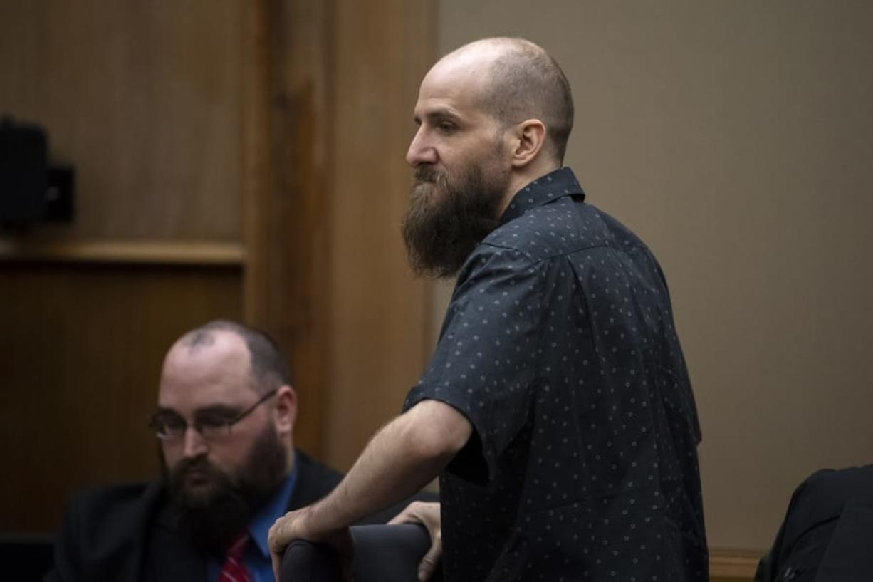 Dustin Zapel, who fatally stabbed two men who lived in his apartment complex in July 2017, awaits opening statements in his double murder trial Tuesday in Clark County Superior Court. (Alisha Jucevic/The Columbian)