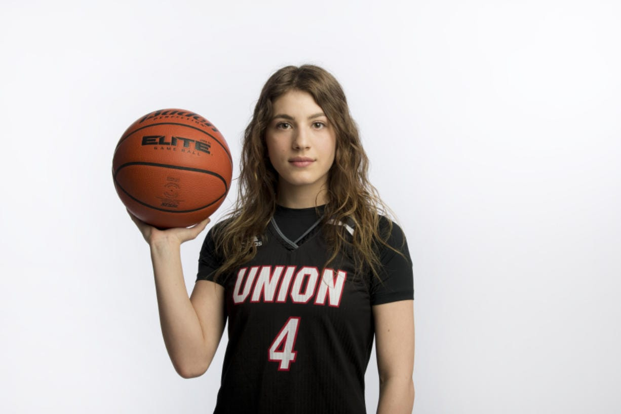 All-Region Girls Basketball Player of the Year Mason Oberg of Union High School is pictured at The Columbian on Tuesday afternoon, March 17, 2020. (Amanda Cowan/The Columbian)