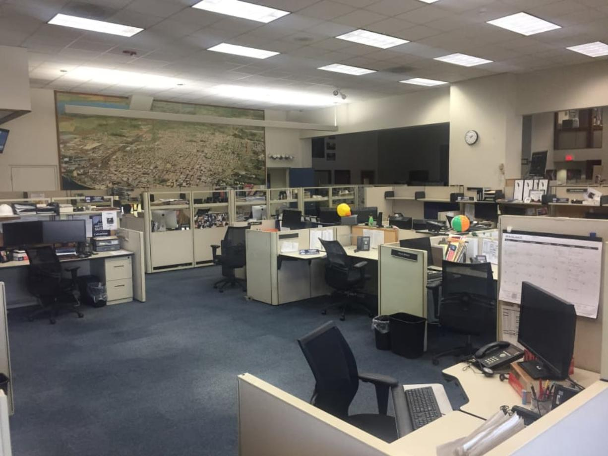 The Columbian's newsroom is nearly empty at midday Thursday.