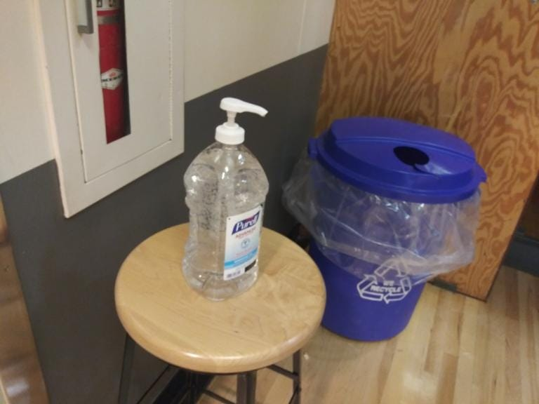 Hand sanitizer sits out for fans to use at the regional round games of the state basketball playoffs at Battle Ground High School on Saturday (Tim Martinez/The Columbian)