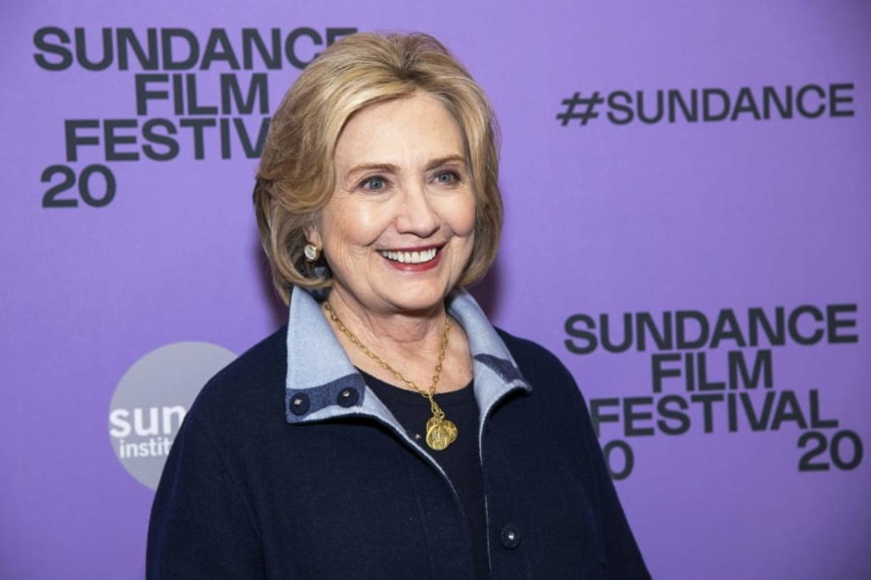 "Hillary Clinton attends the premiere of ""Hillary"" at The Ray Theatre during the 2020 Sundance Film Festival on Saturday, Jan. 25, 2020, in Park City, Utah."