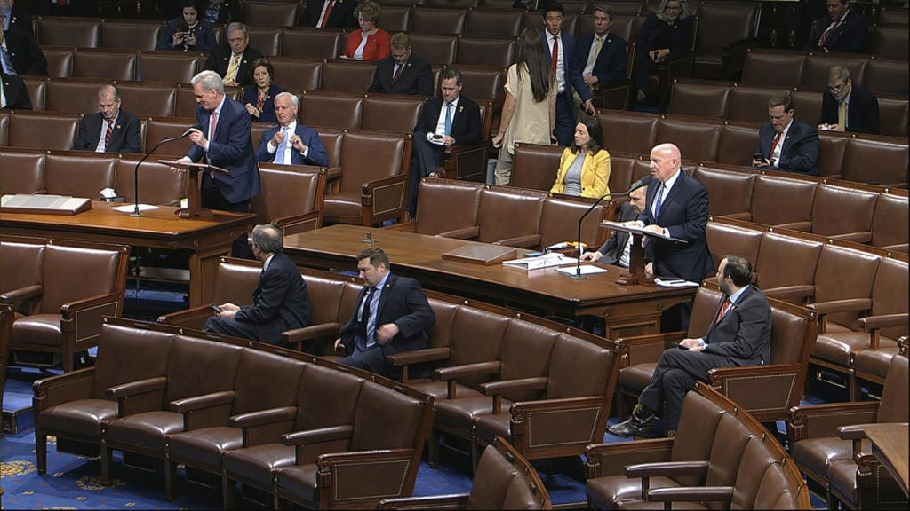 In this image from video, Rep. Kevin McCarthy, R-Texas, left, and Rep. Kevin Brady, R-Texas, stand as they speak on the floor of the House of Representatives at the U.S. Capitol in Washington, Friday, March 27, 2020.