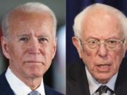 Joe BIden, left, and Bernie Sanders.