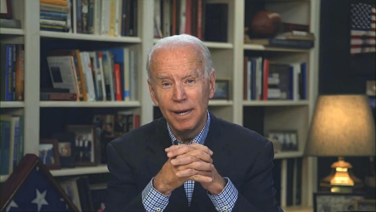 In this image from video, Democratic presidential candidate former Vice President Joe Biden speaks during a virtual press briefing Wednesday.
