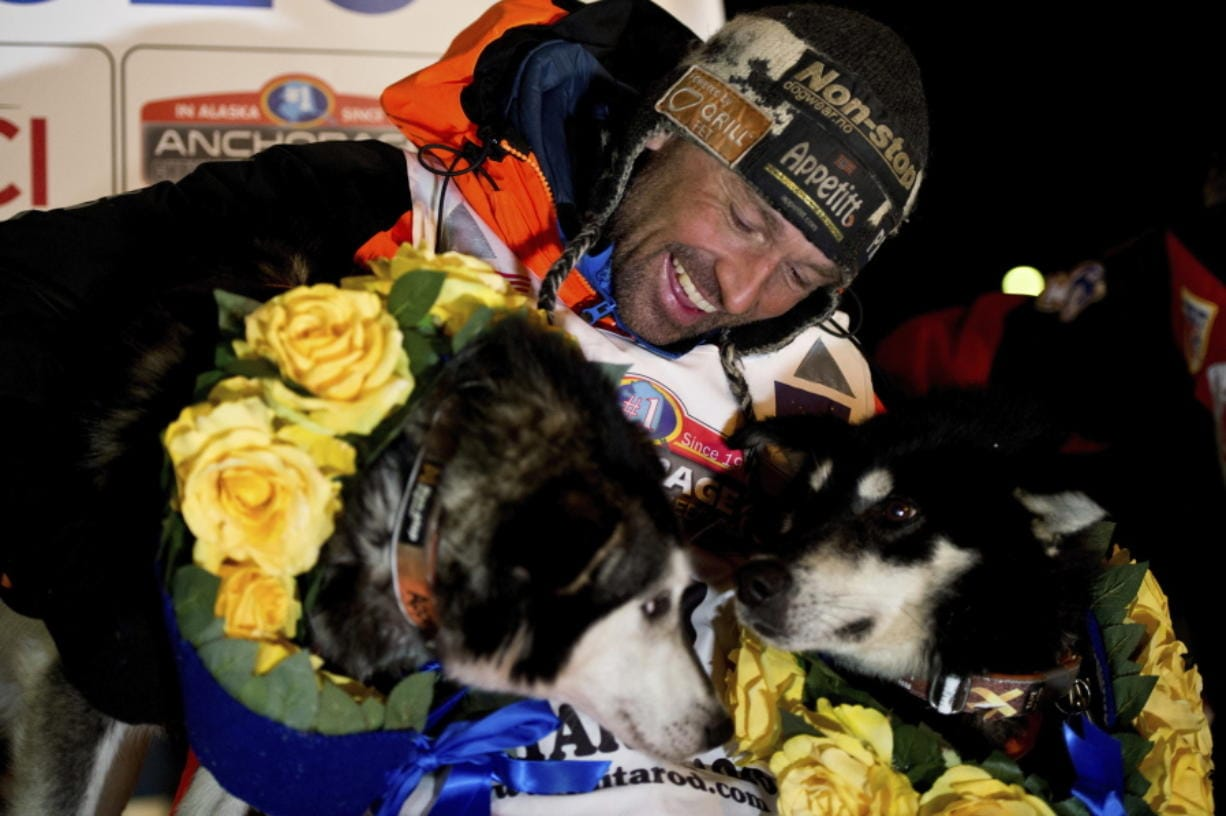 Thomas Waerner, of Norway, arrives in Nome, Alaska, Wednesday, March 18, 2020, to win the Iditarod Trail Sled Dog Race.