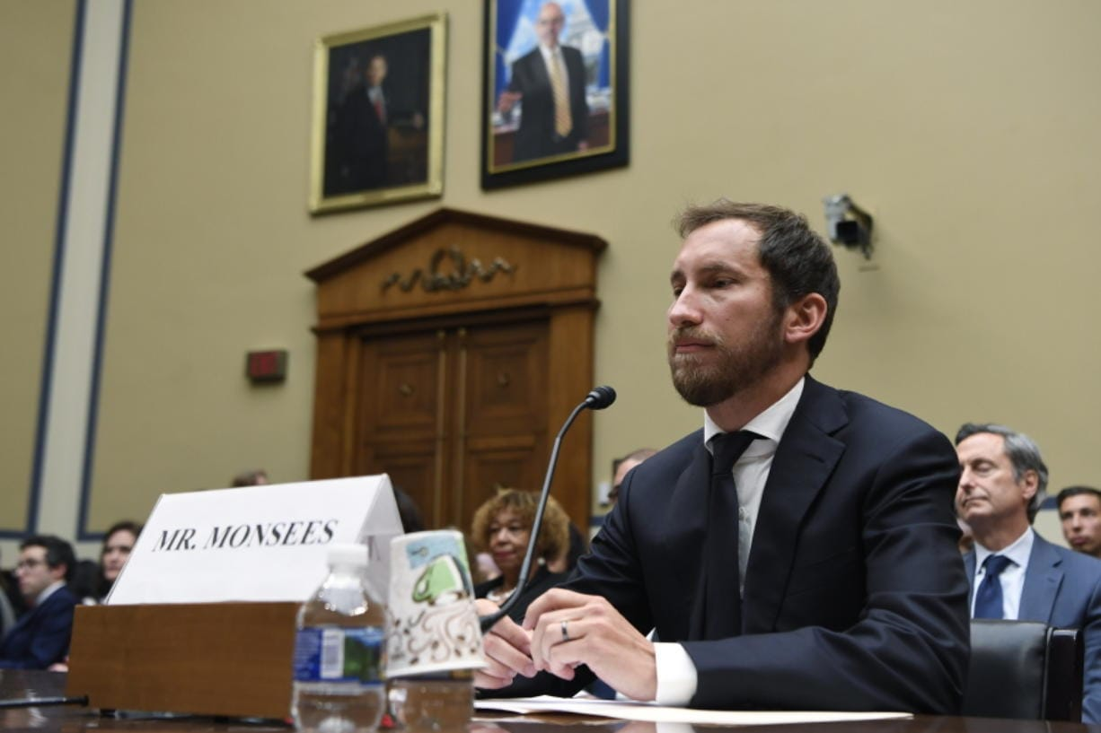 FILE - In this July 25, 2019, file photo, Juul Labs co-founder and Chief Product Officer James Monsees testifies before a House Oversight and Government Reform subcommittee on Capitol Hill in Washington, during a hearing on the youth nicotine epidemic. Vaping giant Juul Labs has donated thousands of dollars to court state attorneys general. But the lobbying strategy may be backfiring.