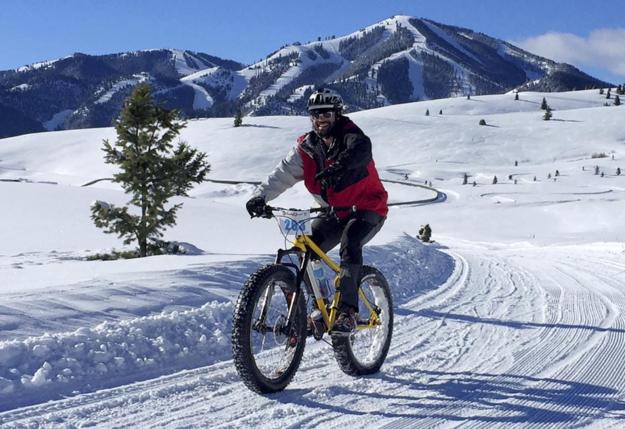 A contestant competes Jan. 30, 2016, in the Snowball Special fat tire bike race at Sun Valley Resort in Blaine County, Idaho.