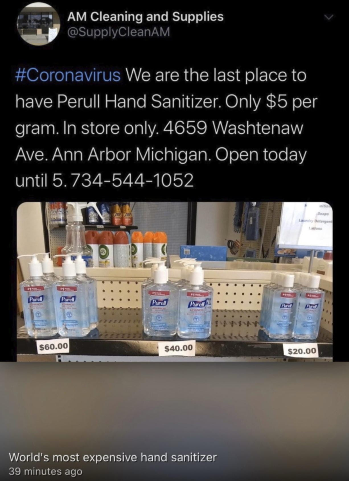 A screengrab from the Twitter account of A.M. Cleaning and Supplies in Ann Arbor Mich., advertising Purell hand sanitizer. (Michigan attorney general's office)