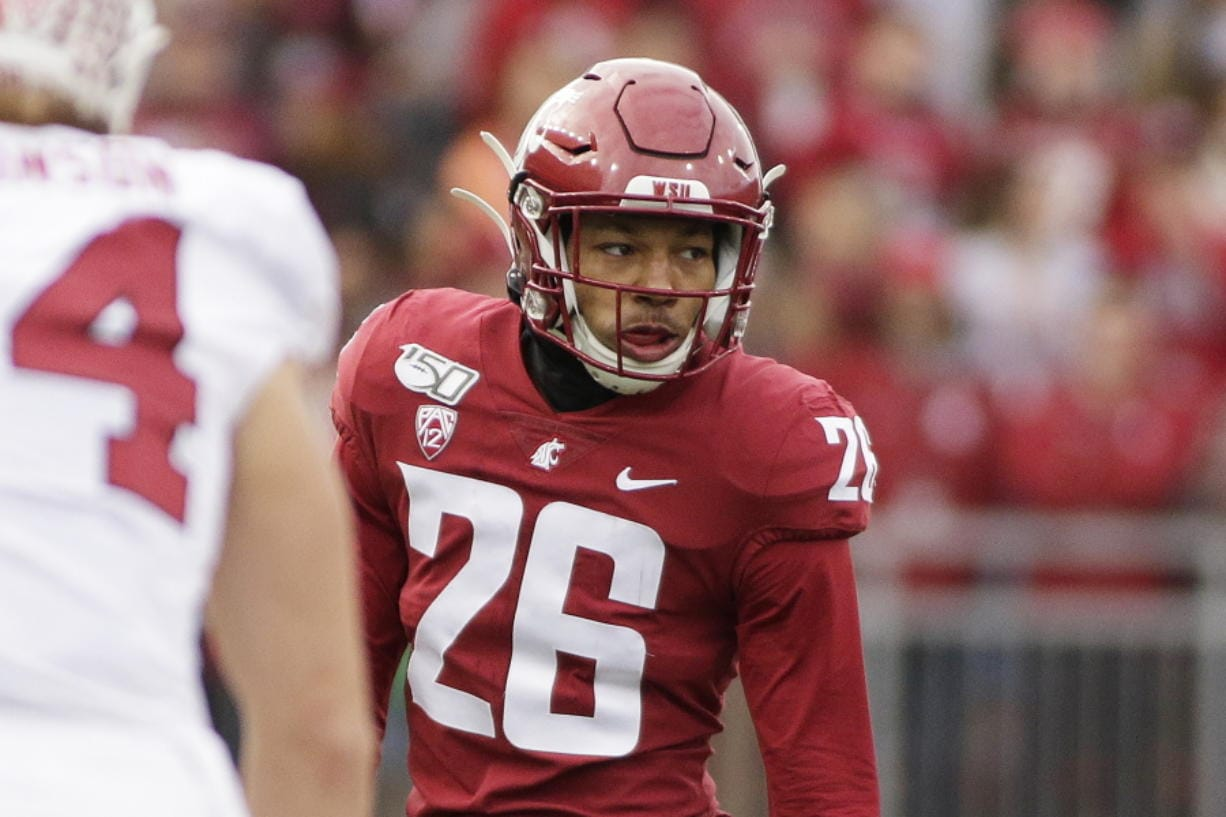 FILE - This Nov. 16, 2019, file photo shows Washington State defensive back Bryce Beekman (26) during the first half of an NCAA college football game against Stanford in Pullman, Wash. Bryce Beekman has died. Police Cmdr. Jake Opgenorth said Wednesday, Marc 25, 2020, the 22-year-old Beekman was found dead at a residence in Pullman. He declined to provide additional details and said more information would be released later by the Whitman County coroner's office.