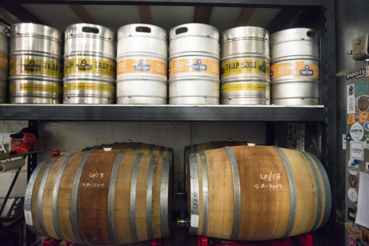 Kegs and casks are stored at Trap Door Brewing.