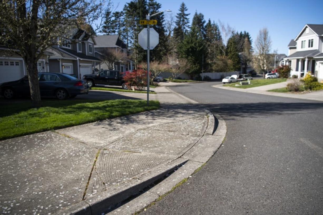 A noncompliant curb ramp at Northwest 120th Street and Northwest 21st Avenue is one of more than 7,000 sidewalk deficiencies in Clark County.