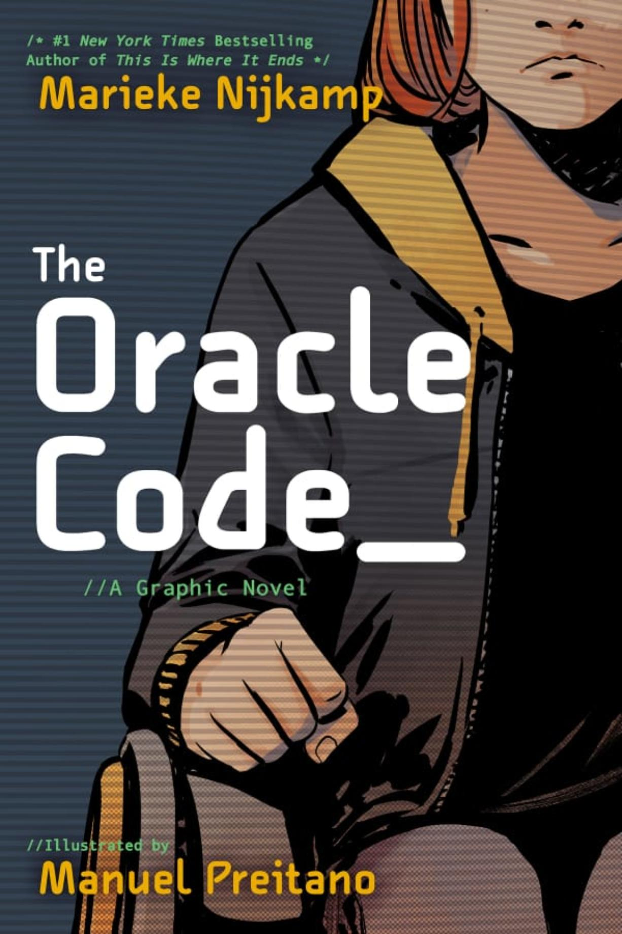 """The cover to """"The Oracle Code"""" conveys the major themes of the story with minimal information."""