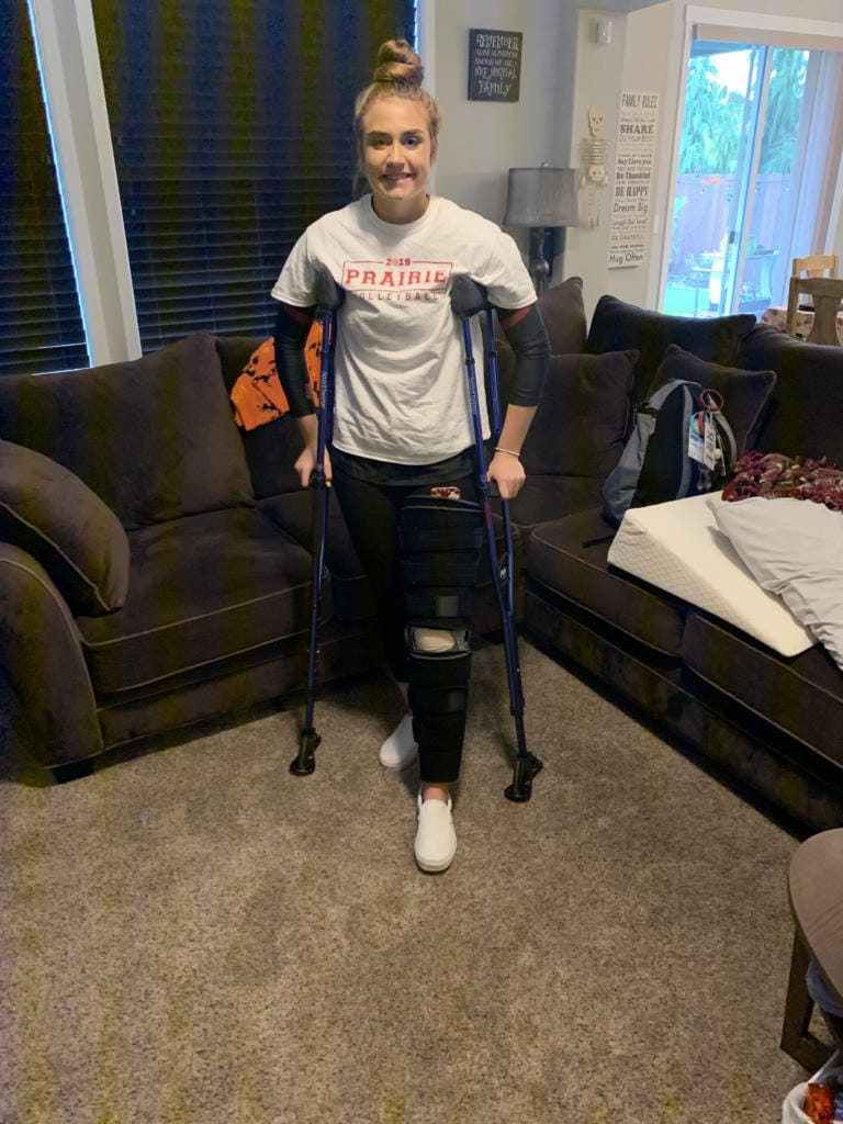 Amelia Renner on the crutches she used for four months after two surgeries on her left knee (Photo provided by Renner family)