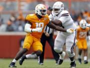 Tennessee linebacker Darrell Taylor (19) was selected by the Seattle Seahawks in the second round of the NFL football draft Friday, April 24, 2020.