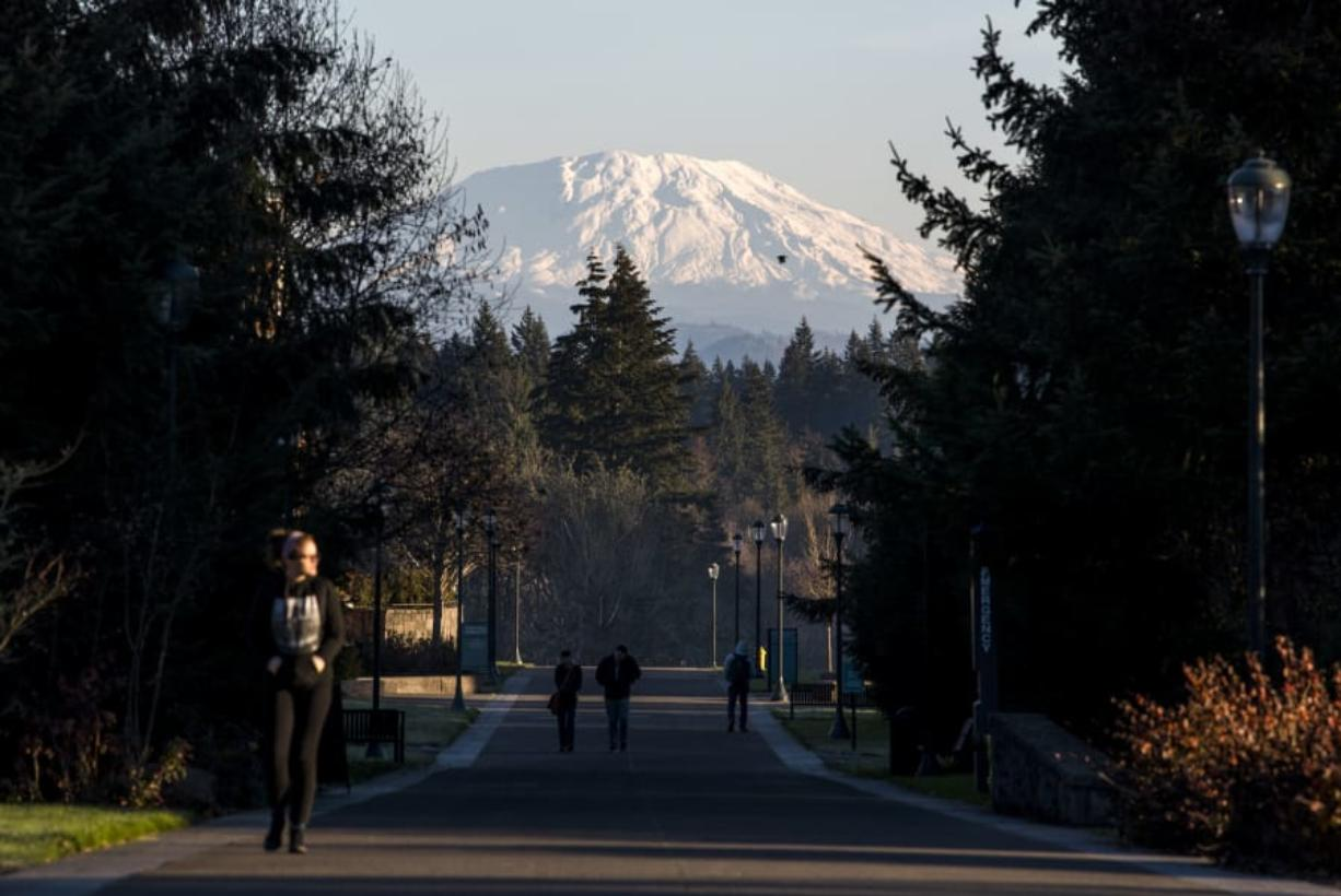 A fresh blanket of snow covers Mount St. Helens, in this December 2018 photo from the Washington State University Vancouver campus. May 18 marks the 40th anniversary of its catastrophic eruption.