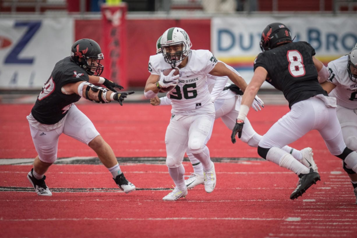 Portland State running back JoJo Siofele (36) had just two game appearances in 2019 for the Vikings. The freshman from Union High School had a strong spring practice and is healthy for the fall.