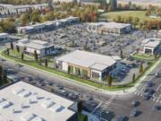 Concept renderings show the western half of the planned Skyview Station retail center in Salmon Creek, shown looking northeast. The project will include eight retail buildings intended to house a bank, pharmacy, restaurant and specialty grocery store, among other tenants.