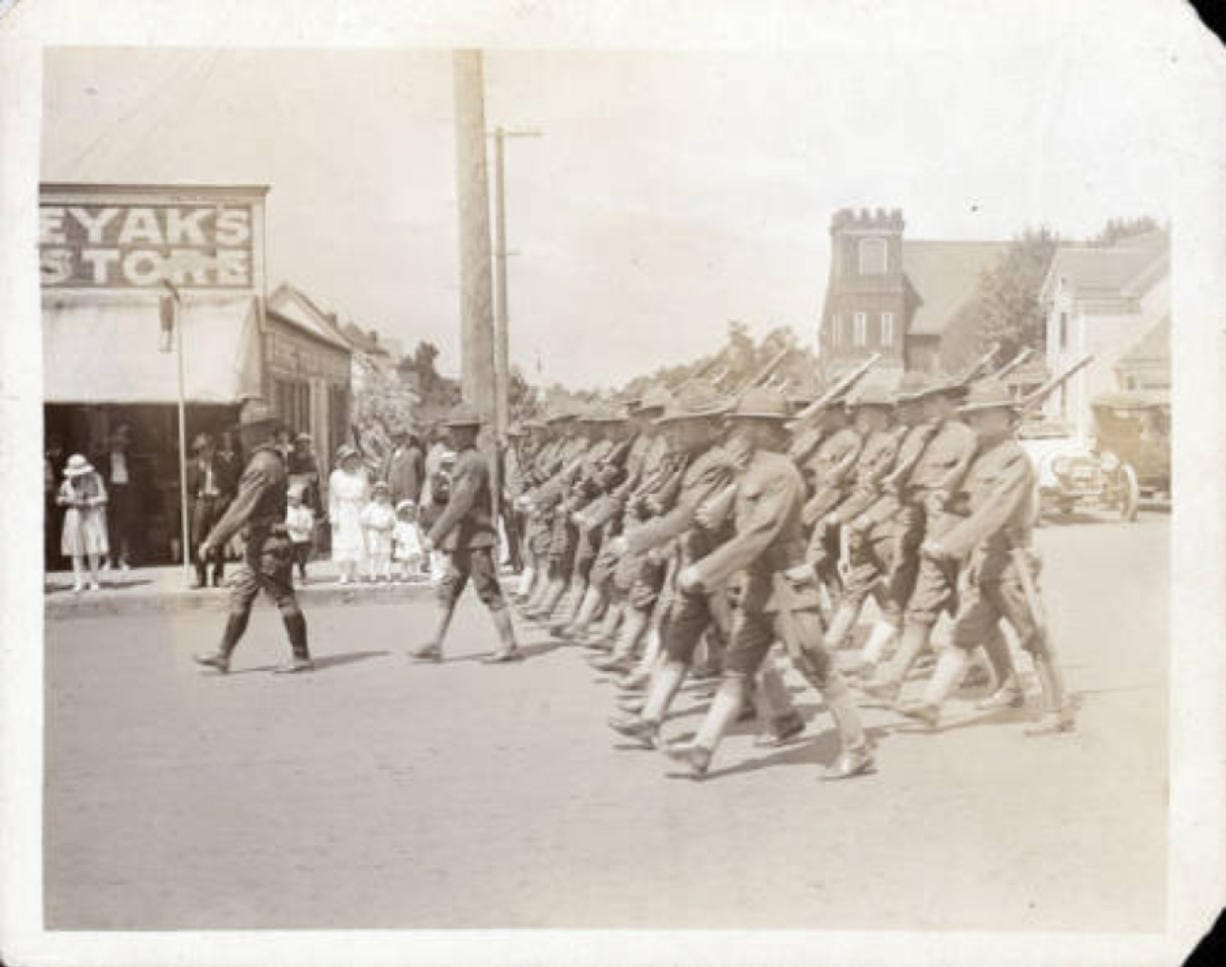 Despite the global influenza pandemic, parades like this one in Vancouver were common as World War I came to an end in 1918.