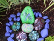 Painted rocks, like this dragonfly-themed display by Diane Stevens, are cropping up in yards around Clark County.