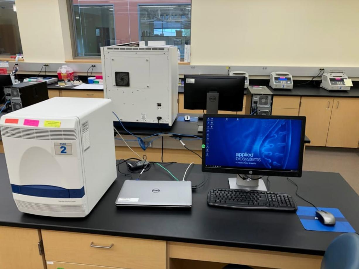 A ThermoFisher 7500 machine in the Washington State Patrol Crime Laboratory in Vancouver.