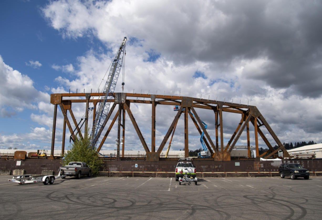 Industrial manufacturing company Vigor is building a new truss bridge for the BNSF Railway Company in the Columbia Business Center. The structure is visible from the parking lot next to the Marine Park boat launch ramp.