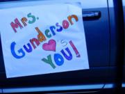 RIDGEFIELD: Union Ridge Elementary School teachers posted messages on their cars during a special car parade they organized for their students in Ridgefield.