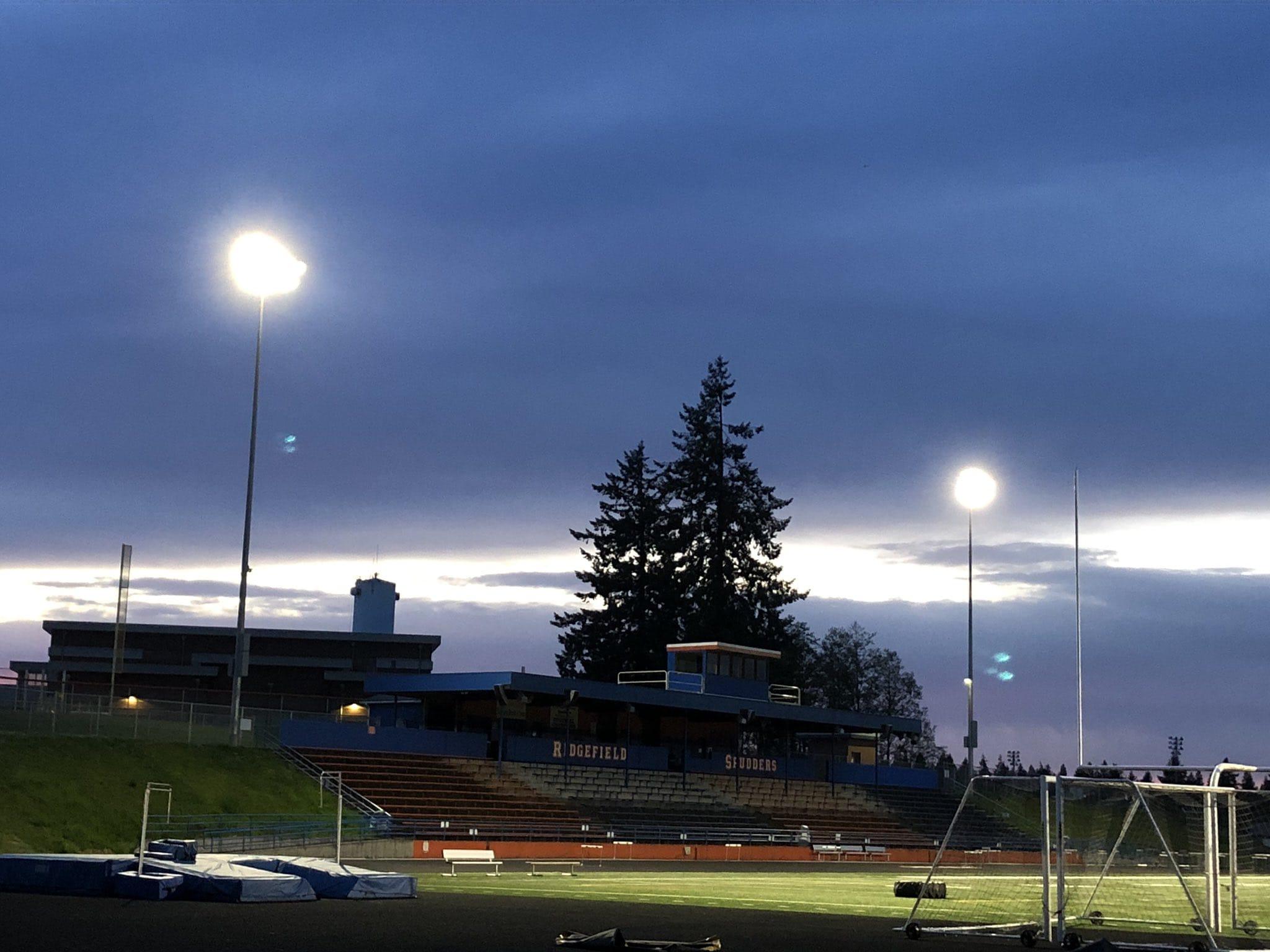 The lights shine on Ridgefield High School stadium on #BeTheLight night on Friday (Micah Rice/The Columbian)