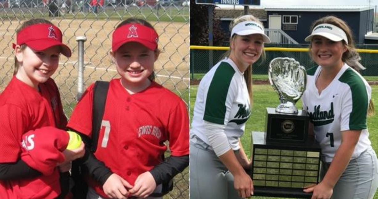 Kelly Sweyer (left in both image) and Kaily Christensen have been friends and teammates from Little League through to Woodland High School (Photos courtesy of Woodland High School).