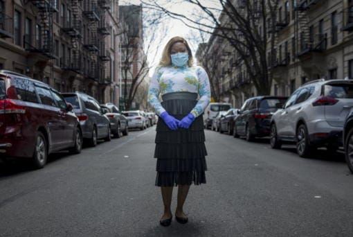"Tiffany Pinckney poses for a portrait in the Harlem neighborhood of New York on April 1, 2020. After a period of quarantine at home separated from her children, she has recovered from COVID-19. Pinckney became one of the nations first donors of ""convalescent plasma."" Doctors around the world are dusting off a century-old treatment for infections: Infusions of blood plasma teeming with immune molecules that helped survivors beat the new coronavirus."